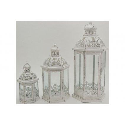 lampáš kovový, sadá 3ks cena za sadu. farba biela antík 14x25x12,18x35x16,23x49x20cm
