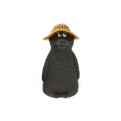Krtko s klobúkom keramická záhradná dekorácia 10.2*10*18.5cm