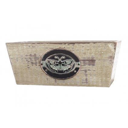 Obaly drevený motýľom s igelitovou vložkou 18x19x11-14 a 22x23x12-15cm