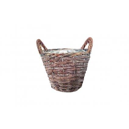 Košík aranžérsky, neolúpané prútie s ušami a fóliou s nápisom GREEN GARDEN 23x16x23cm