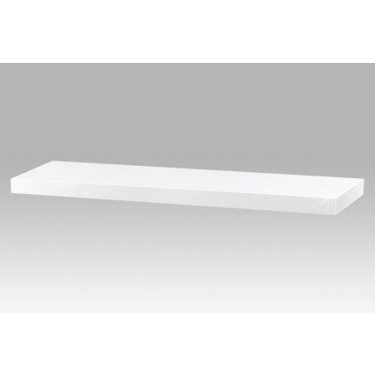 polička nástenná 80x24x4cm, vysoký lesk biely