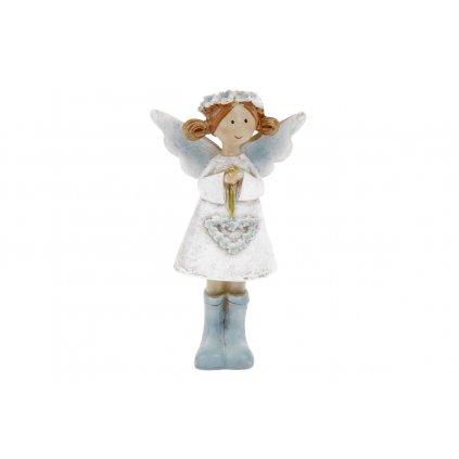 Víla s levanduľovým srdcom,biele šaty,stojaca,polyresin,5x8x2,5cm