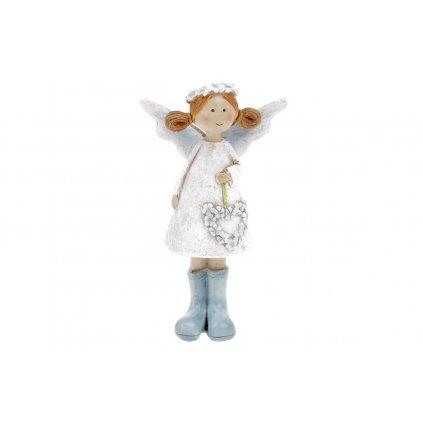 Víla s levanduľovým srdcom biele šaty stojaca polyresin 6,5x11,5x3cm