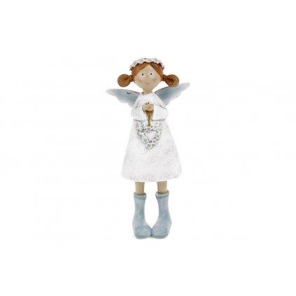 Víla s levanduľovým srdcom biele šaty stojaca polyresin 8x17,5x4,5cm