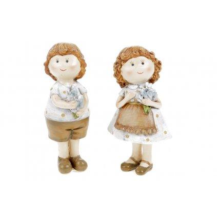 Dievčatko alebo chlapec, levanduľový štýl,polyresin,4x10,5x3,5cm,cena za 1ks.