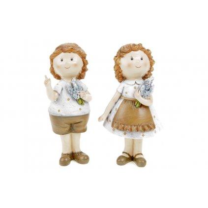 Dievčatko alebo chlapec levanduľový štýl polyresin 6x15x4cm cena za 1ks