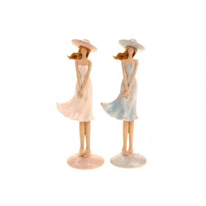 Dáma s klobúkom  stojaca polyresin mix dvoch farieb 6x17x4cm cena za 1kus