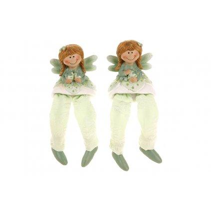 Jahodová víla sediaca nohy z textilu  polyresin farba zelená mix dvoch druhov  6x13x4cm,cena za 1kus