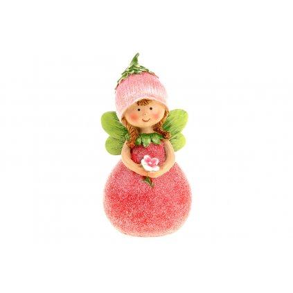 Ružová víla, polyresin 6x12x5cm