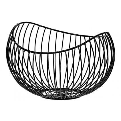 Košík, kovová dekorácia, farba čierna 24x15x21cm