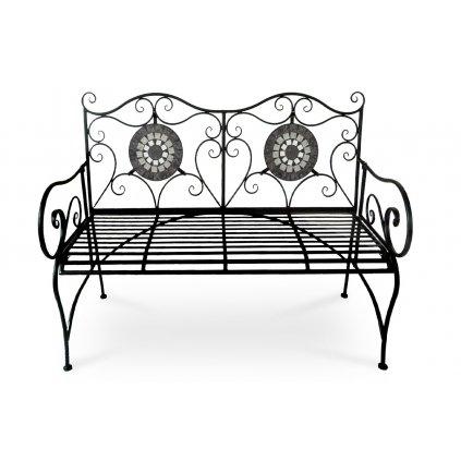 Záhradná lavica, keramická mozaika, kovová konštrukcia, čierny matný lak (typovo ku stolu US1006 a stoličke US1007)