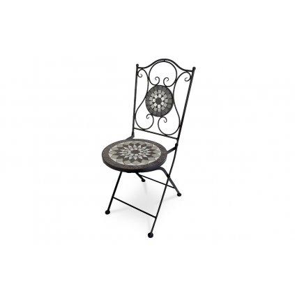 Záhradná stolička, keramická mozaika, kovová konštrukcia, čierny matný lak (typovo ku stolu US1006 a lavici US1005)