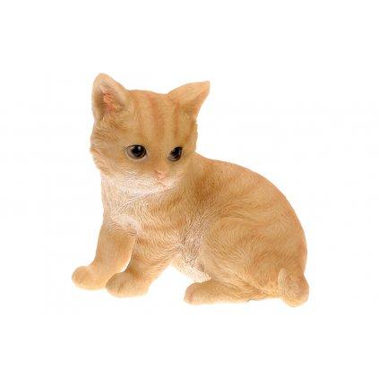 Mačka v béžovej farbe,sediaca,polyresinová dekorácia,16x16x11cm