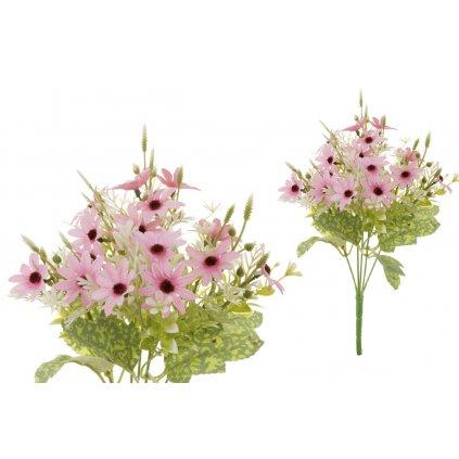 Umelý kvet, margarétka, farba ružová,18x33x18cm