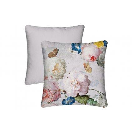 Vankúš s výplňou,romantický mix kvetín na lila podklade,45x45cm