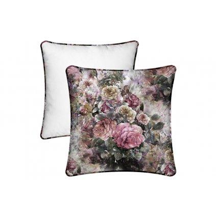 Vankúš s výplňou,v ružovej záhrade,45x45cm