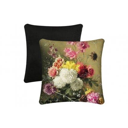 Vankúš s výplňou,kvetinové zátišie na zelenkavom podklade,45x45cm