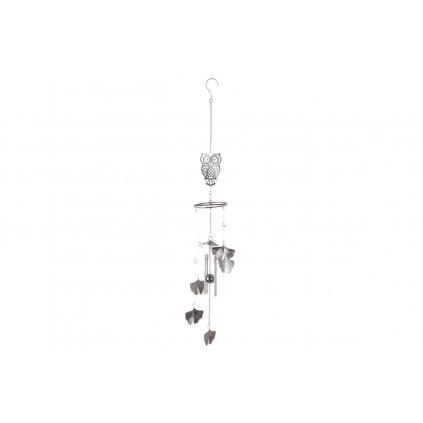 Zvonkohra sovička kovová dekorácia, farba strieborna 10X70CM