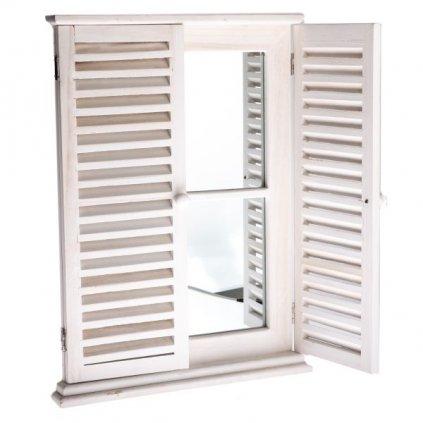 Zrkadlo s okenicami biela patina 45×60×3cm