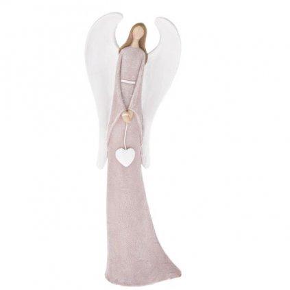Anjel polyresin,ružový so srdcom,11x31,5x6cm