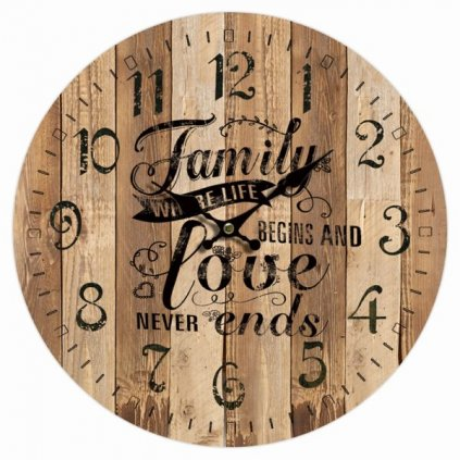 hodinky nástenné family love drevené 34×34×1cm