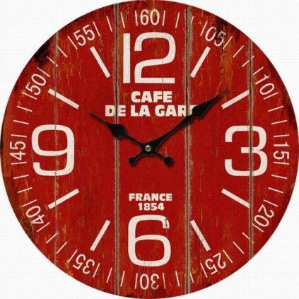 hodinky nástenné červené drevené vintage 34×34×1cm