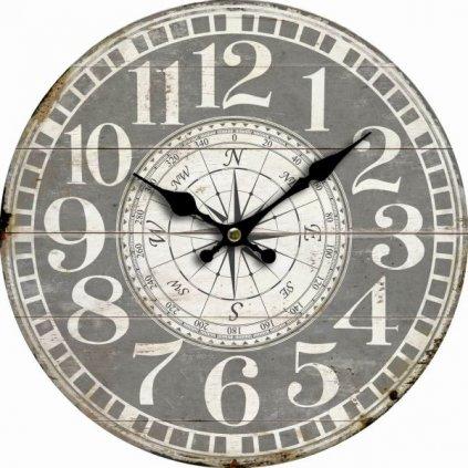 hodinky nástenné kompas drevené šedé 34×34×1cm