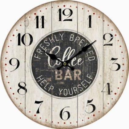 hodinky nástenné coffe bar drevené šedé 34×34×1cm