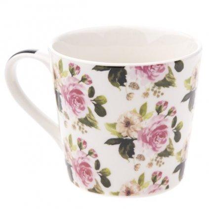 hrnček porcelánový s ružičkami 400ml 9,7×9,1×7,6cm