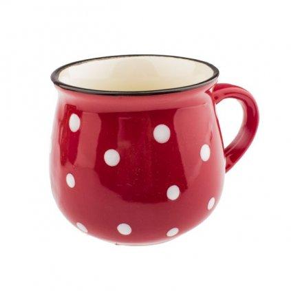hrnček keramicky s bielymi bodkami červený 75ml