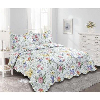 Prehoz na dvojlôžko s farebnými kvetinami + 2x obliečka na vankúš,230x250/(2x)50x70cm