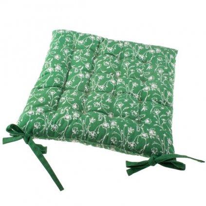 Podsedák na stoličku zelený s potlačou kvetín,40x40cm