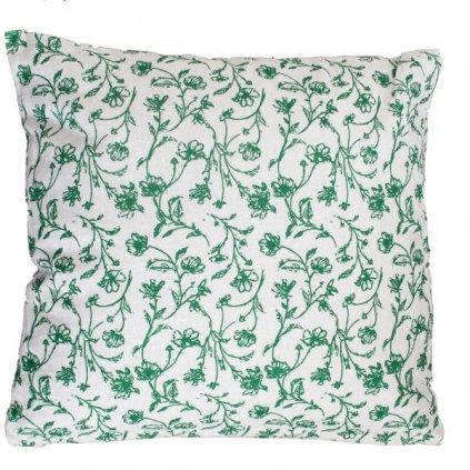 Vankúš s výplňou,béžový so zelenou kvetinovou potlačou,40x40cm