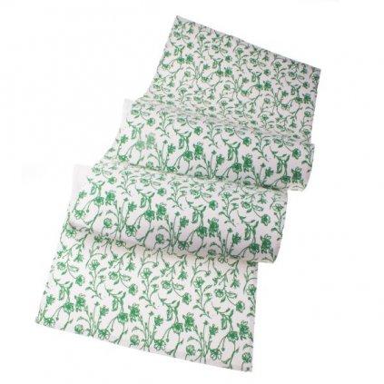 Behúň béžový so zelenou kvetinovou potlačou,140x33cm