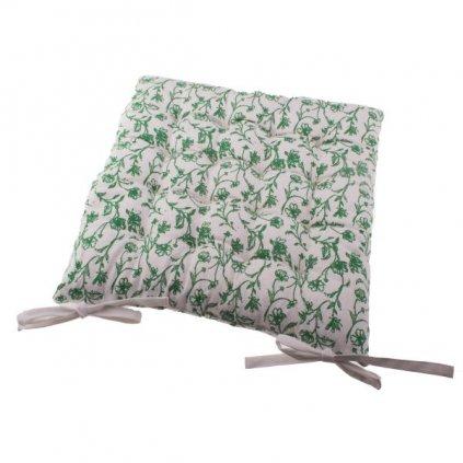 Podsedák na stoličku,béžový so zelenou kvetinovou potlačou,40x40cm