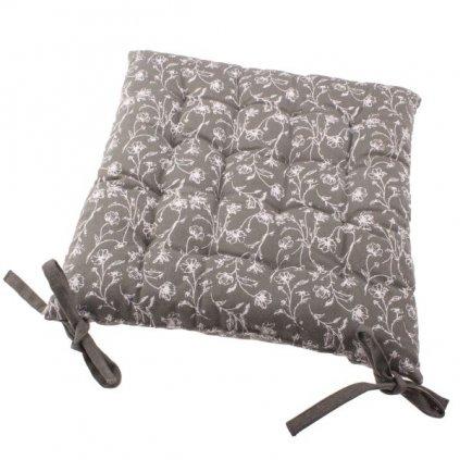 Podsedák na stoličku sivý s kvetinovou potlačou,40x40cm