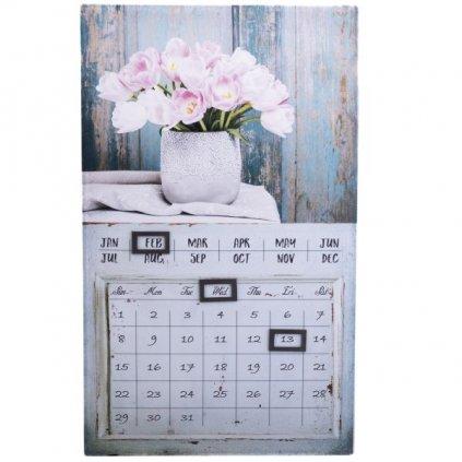 obraz nástenný kalendár kytica tulipánov 30×50×1,8cm