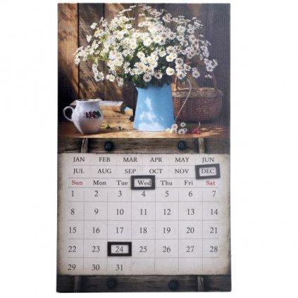 obraz nástenný kalendár kytica margarétok 30×50×1,8cm