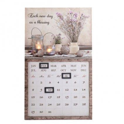 obraz nástenný kalendár kytica lúčnych kvetov 30×50×1,8cm