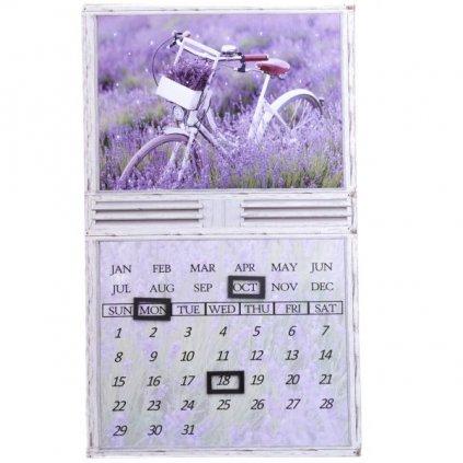 obraz nástenný kalendár levanduľa bicykel pole 30×50×1,8cm