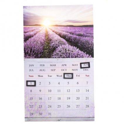 obraz nástenný kalendár levanduľové pole 30×50×1,8cm