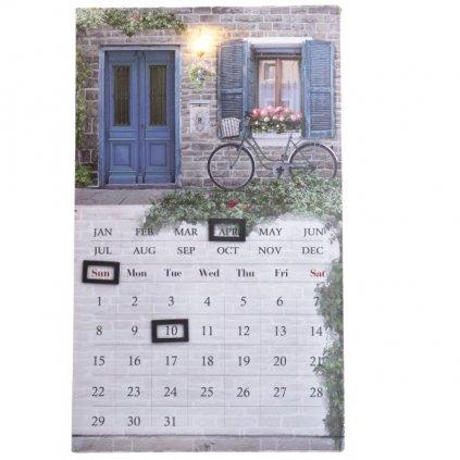 obraz nástenný kalendár provence bicykel 30×50×1,8cm