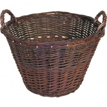 košík prútený s ušami hnedý  40 x 25/33 cm