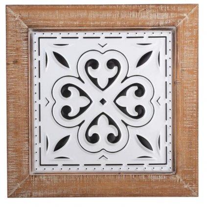 Drevená nástenná dekorácia,hnedý rám,34x34x1,8cm