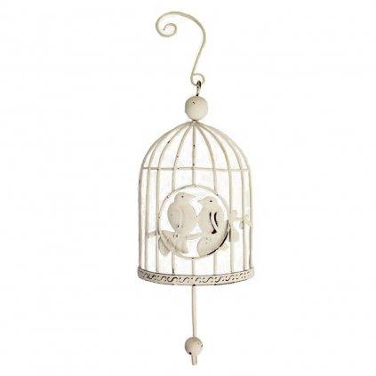 Kovová závesná dekorácia klietka s vtáčikmi biela 8,5x6,5x21,5cm