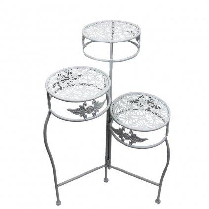 Kovový stolík na kvety biely 22x22x64cm