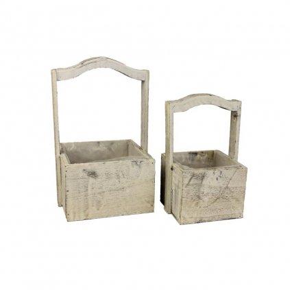 Sada dvoch drevených boxov s plastom,13x13x10/23cm,17x17x10,5/28cm