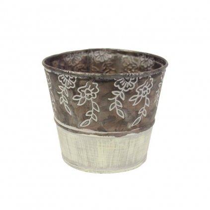 Obal kovový krémovohnedý s kvetinami,12x10x8,5cm