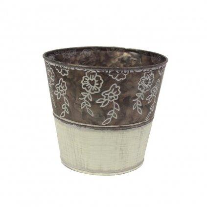 Obal kovový krémovohnedý s kvetinami,14,5x13x10cm
