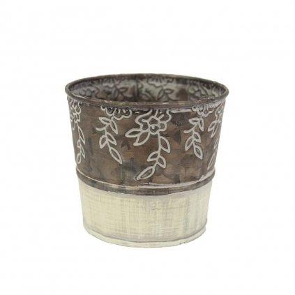 Obal kovový krémovohnedý s kvetinami,10x9x8cm